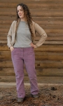 tasha in purple cord pants