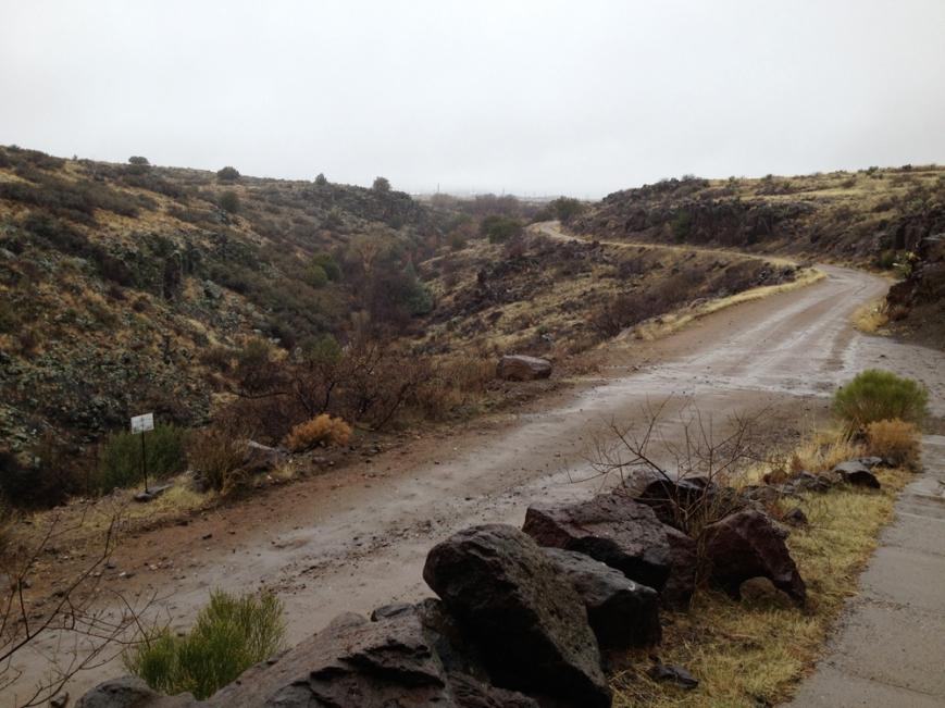 arcosanti desert in rain