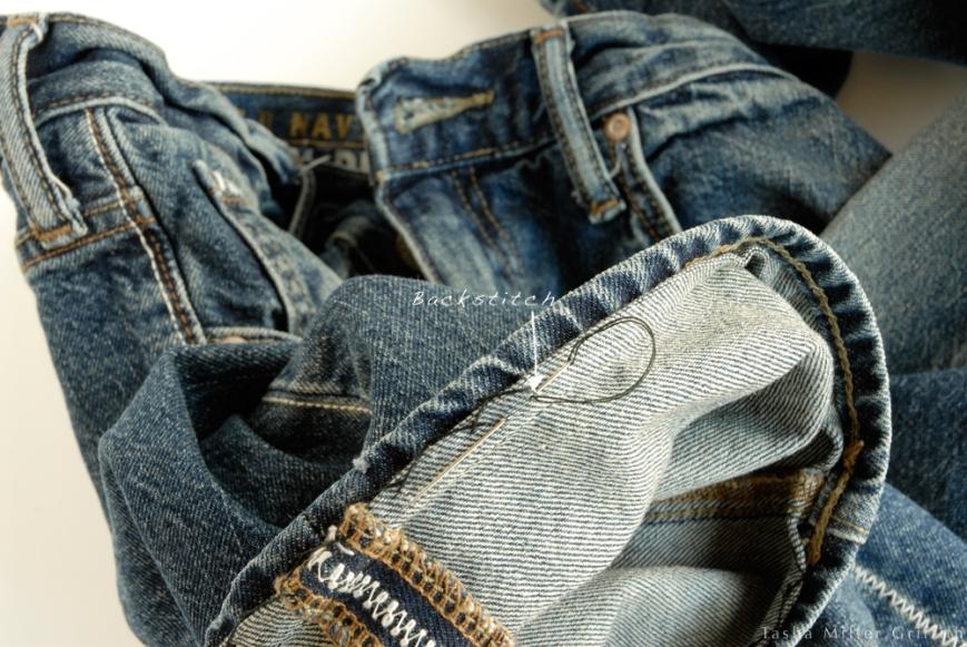 Jeans hem backstitch