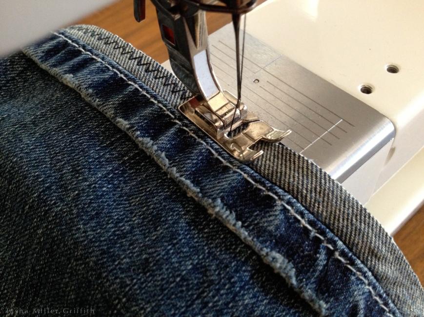 Jeans hem overcasting
