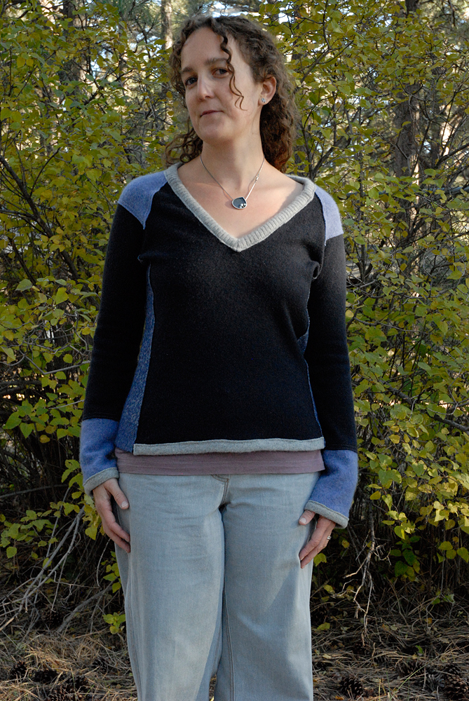 blue upcycled sweater front