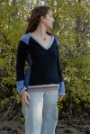 blue upcycled sweater looking side