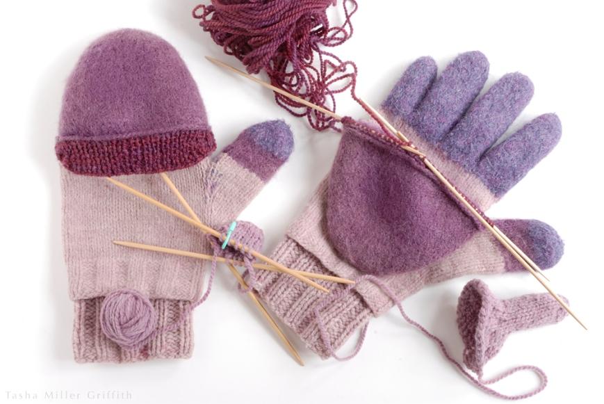 purple mittens knitting extras