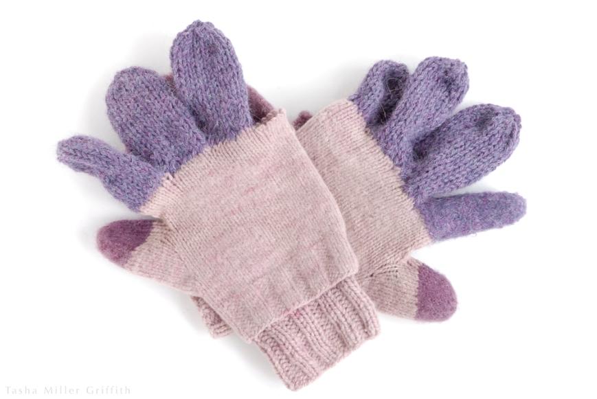 purple mittens unfelted fingers