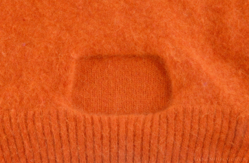 orange felt with unfelted label