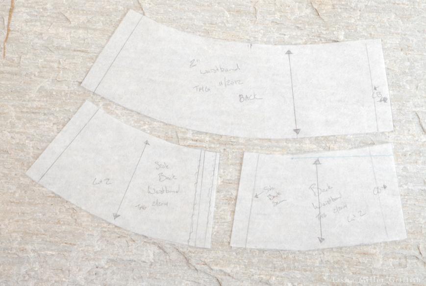 pants waistband back pattern pieces