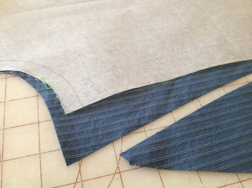 blue stripe trous cutting inseam