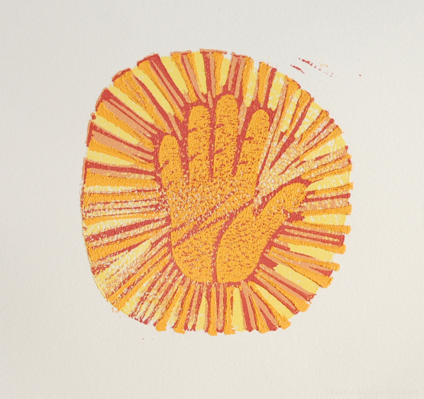 I'm kind of obsessed with the hand as a symbol of the ideas I hold dear.  This was my design in a reductive printing process we tried.