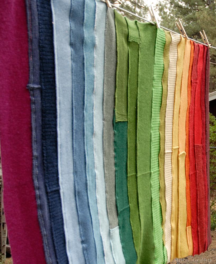 rainbow ribbing baby blanket 2