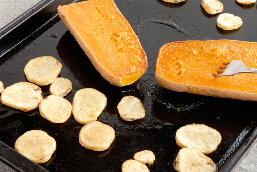 roasted butternut with potatoes