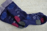 patched purple hobo socks