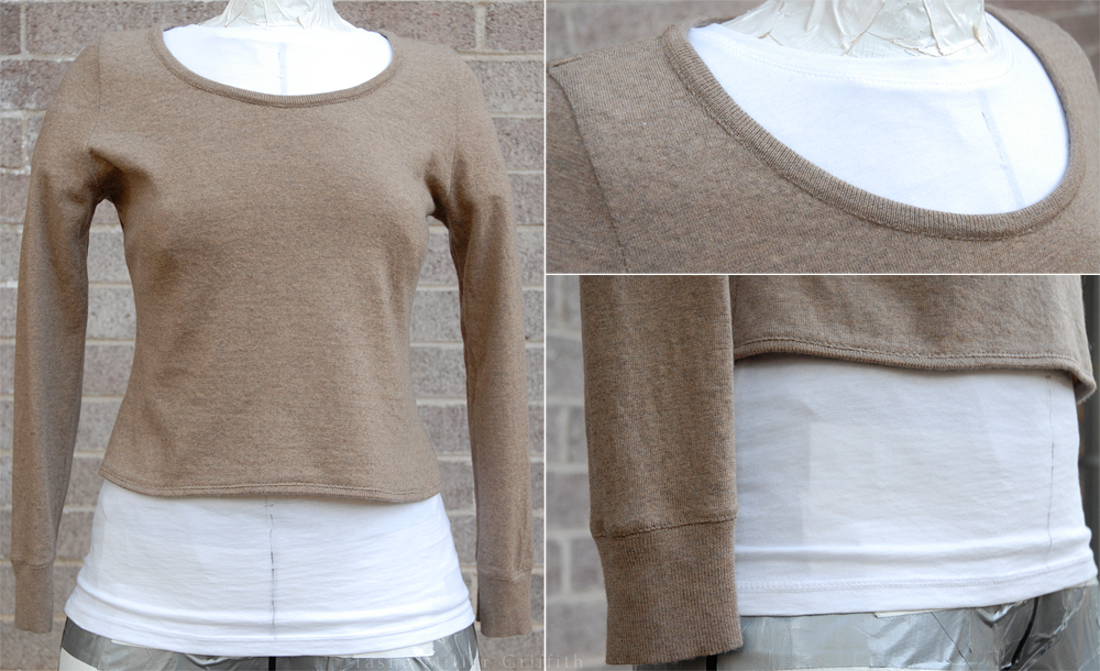 tan winter top on form