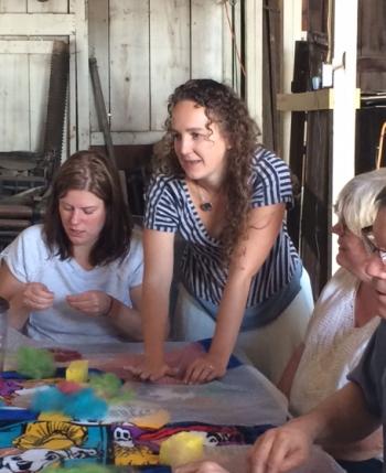 Tasha teaching felting Flag Wool