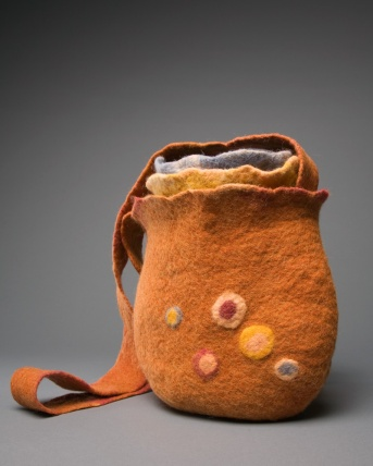 Hand-wet-felted bags