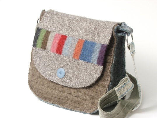 Bags sewn from upcycled sweaters and belts