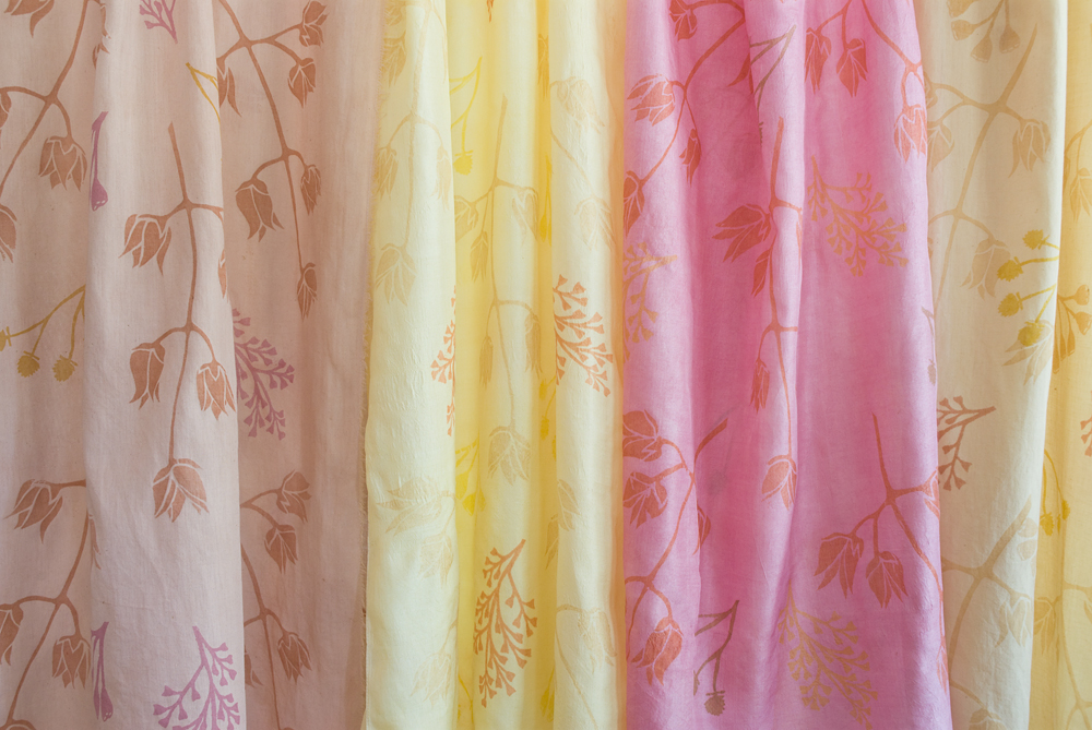 Naturally dyed and printed scarves