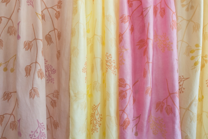 Cotton and silk scarves, hand dyed and printed with natural dyes