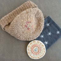Modern embroidery sampler, knit hat and fabric case with simple embroidery